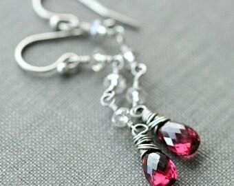 Garnet Stone Silver Earrings, Long Crystal Earrings, January Birthstone, Rhodolite Garnet Jewelry, Swarovski Jewelry