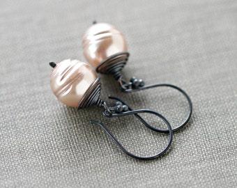 Pink Pearl Earrings Sterling Silver June Birthstone Black Bridesmaid Wedding - Petite Rose