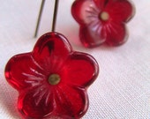 Red Flowers - Czech Glass Vintage and Vintaj Brass Earrings