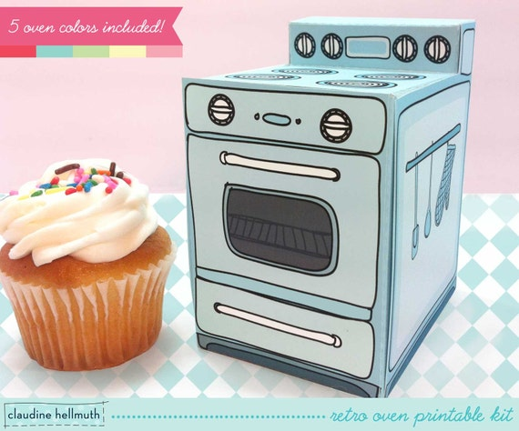 retro oven -  cupcake box, party favor box, gift card holder, paper toy printable PDF kit - INSTANT download