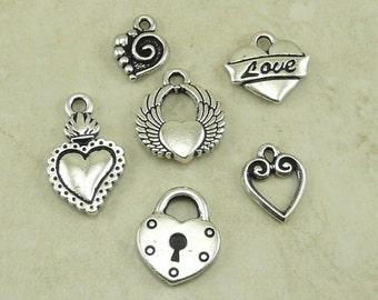 6 TierraCast Love Heart Valentine Charms Mix Pack -  Silver and Rhodium Plated Lead Free Pewter - I ship internationally