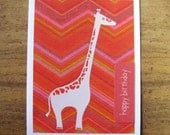 happy birthday card- gentle giraffe