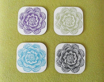 Crochet Flower Print Coasters - Set of 4