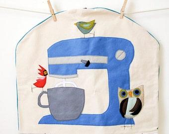 Made to Order Standard Kitchen Aid Mixer Cover with  Felt Applique Birdy Bird Mixer Design