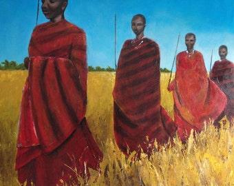 Large Acrylic Original Fine Art Painting - Masai