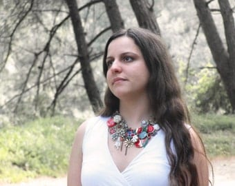 Combination of Dissonant Statement Necklace with Vintage Treasures
