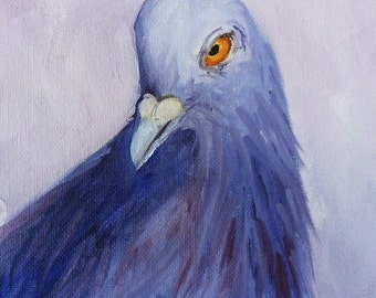 Bird Portrait, Original Dove on Canvas, 6x6 Pigeon Oil Painting, Purple Feathers, Small Animal Painting, Wall Decor, Blue