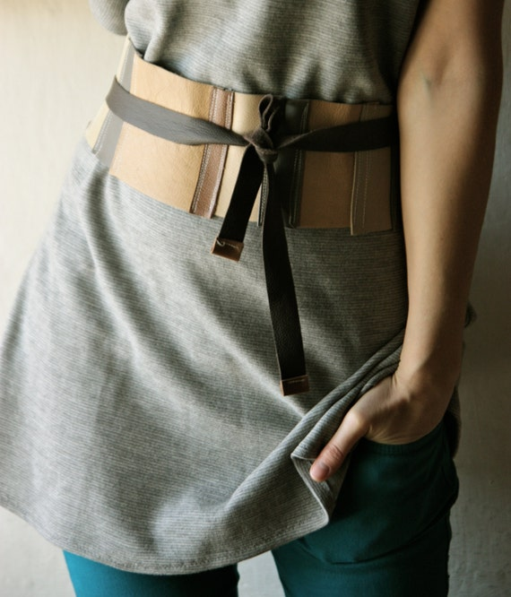 Obi Belt Brown Leather - Patchwork wide waist belt
