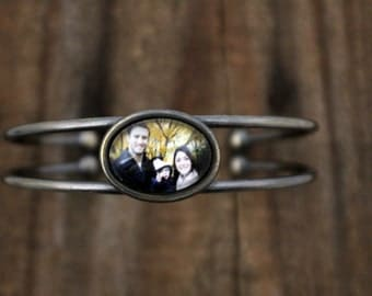 Customized Photo Cuff Bracelet - Personalized With Your Custom Photograph or Image - Vintage Silver or Gold - Gift for Wife, Mom, Wedding