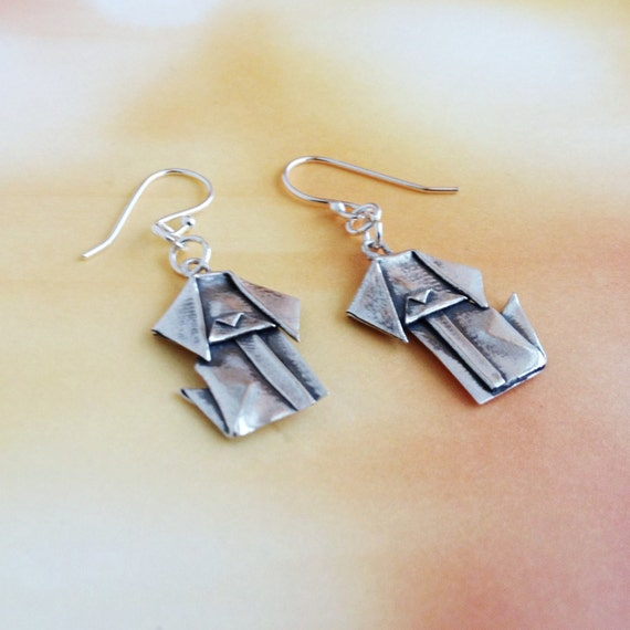 Silver Origami Dog Earrings Hand Folded Fine Silver