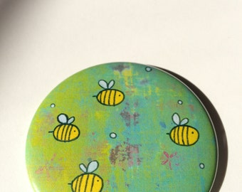 Puff and Bees Button Magnet