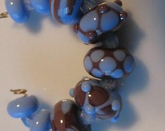 Handmade Lampwork beads -Loose beads-glass beads-blue and dark plum-SRA-glass blowing  glass art