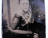 vintage photo tintype Pretty Young Lady 3/4 view gyspy scarf beads curly hair