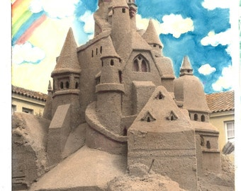vintage photo Sand CAstle Capitola Santa Cruz California Original painted photograph