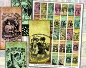 Jose Guadalupe Posada Antique Mexican Posters I digital collage sheet altered art 25mm x 50mm domino 1x2 inch 1x2""