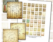Text Textures Scrabble digital collage sheet type typography dreamy antique background .75 x .83 in