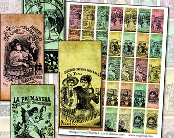 """Jose Guadalupe Posada Antique Mexican Posters I digital collage sheet altered art 25mm x 50mm domino 1x2 inch 1x2"""""""