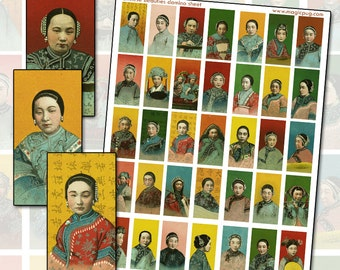 Antique Imperial Chinese Women domino collage sheet for jewelry decoupage  25mm x 50mm 1x2 inch crimson red green orange yellow