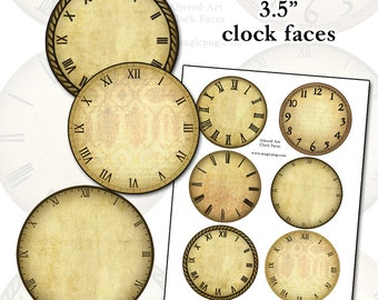 Altered Art Clock Face Digital Collage Sheet for mixed media crafts decoupage scrapbooking 3.5 inches