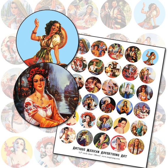 Mexican Pin Up Girl Advertising Poster Art 1.5 inch circle digital collage sheet button badge pinback pins 38mm round
