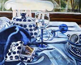 Polish Pottery gallery wall print, still life art kitchen Print, kitchen art for kitchen, giclee art, Boleslawiec pottery, blue art