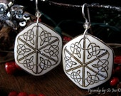 Eco Celtic Triangles Pysanky / Batik Egg Shell Earrings