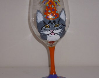 "Hand Painted Happy Birthday Tiger Tabby Cat Wine Glass ""Reggie"" Pet Lovers Boutique"