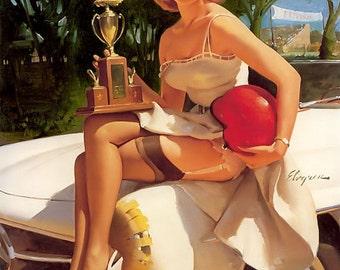 12x18 ELVGREN - 300 SL RACE Fans  Marilyn Retro up skirt Pinup  Stockings  Nylons pin-up Panties Vintage Dress Lingerie Fantasy - Signed art
