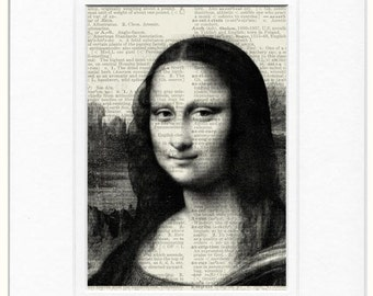 mona lisa dictionary page print