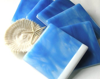 Ocean Blue Fused Glass Drinks Coasters - Dazzling Blue - Blue Skies - Perfect Day  - Beach Home Decor - Bleu Ciel