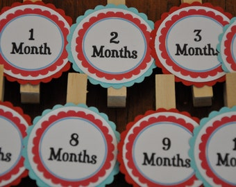 Photo Clips. Photo Banner. DIY Photo Banner. First Birthday. Red. Blue.