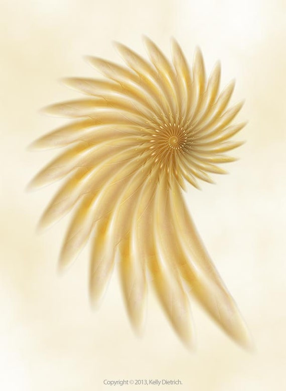 Golden Flower - Abstract Fractal Print in Yellow and Gold