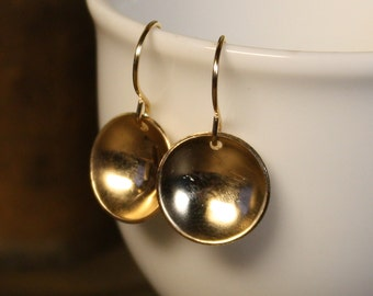 Sweet Circles Domed Metal Earrings - Smooth Gold-Fill - Simple and Modern