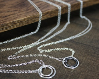 Modern Sterling Silver Necklace - Double Circle - Eternal