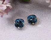 Swarovski Crystal Denim Blue 10mm 4470 Square in a 4 Hole Prong Setting Sew On - Wire Jewelry Supply