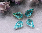 Aquamarine Blue Glass Cab...