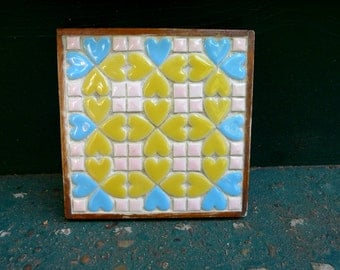 Vintage retro mosaic tile hot plate stand