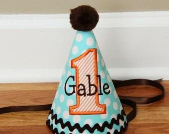 Boys 1st Birthday Hat - Aqua dots, orange, and brown - Free Personalization