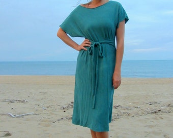 Organic Kimono Belted Below Knee Dress ( light hemp and organic cotton knit )  - organic dress