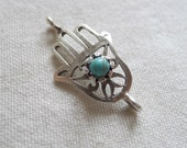 Hand of Fatima Hamsa Connector with Turquoise, Silver Plated