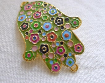 Green Floral Bedecked Hand of Fatima Hamsa Enameled Connector, 22K Gold Plated