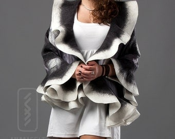 Wavy shawl Felt ruffled scarf - Grey with ivory white - DHL Express shipping