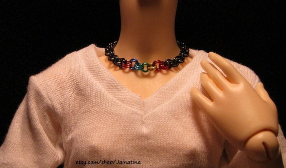 Ball Jointed Doll Dark Gray Double Chain with Rainbow Choker/Necklace