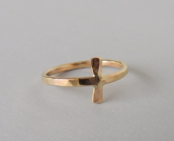 Gold Cross Ring - Sideways Cross Jewelry - Gift For Her