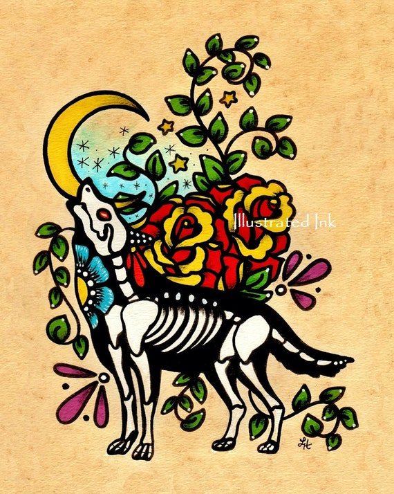 Day of the Dead WOLF Old School Tattoo Art Print 5 x 7, 8 x 10 or 11 x 14