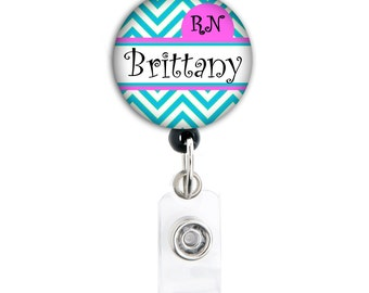 Badge Holder - Personalized Name Chevron with Title- Choice of Blue or Pink