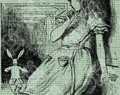 Digital Download White Rabbit Running, Alice in Wonderland digi stamp, digis, digital stamp, Lewis Carroll Antique Illustration