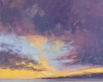 Original Landscape Painting on Canvas 8x8 Sky Clouds California Sunset