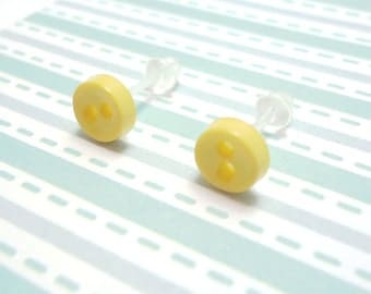 Spring Yellow Stud Earrings Light Yellow Color Mini Buttons Metal Free Acrylic Hypoallergenic Posts Sensitive Ears Kawaii Earrings No Metal
