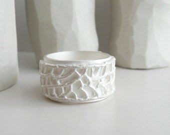 Lace Ring Sterling Silver and White Patina